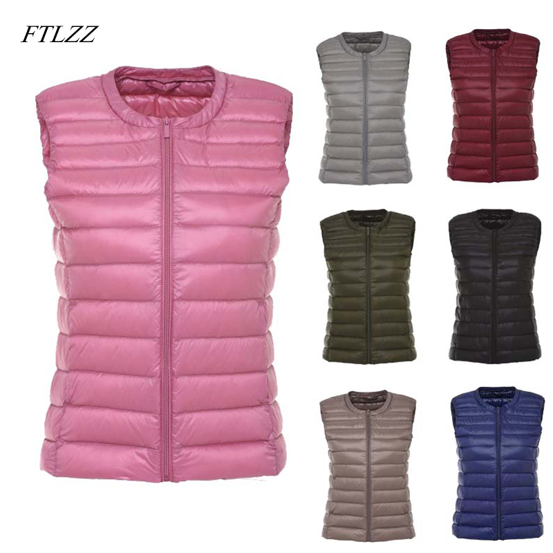 FTLZZ New White Duck   Down   Vest   Coat   Women Ultra Light Duck   Down   Vest Jacket Autumn Winter Round Collar Zipper Sleeveless   Coat