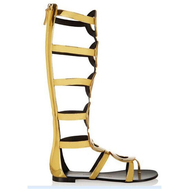 2019 Ouvert Toe As Or as Sexy Sandales Luxe Robe Nouveau Haute Plat Chaussures Pic Genou Soirée Bottes Pic Femmes out Avec Magnifique Cut De Gladiateur COq7dR