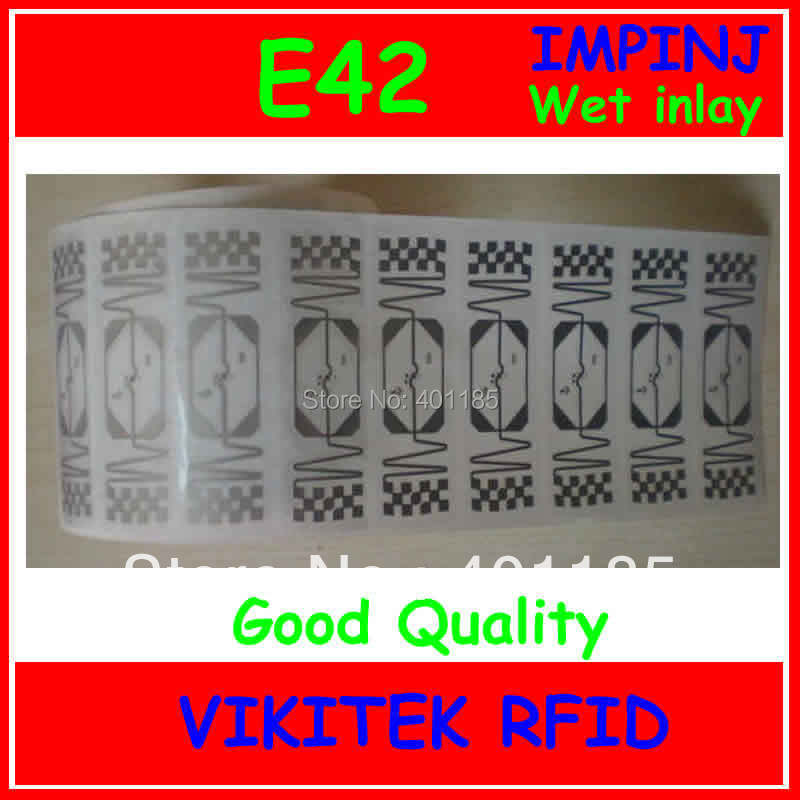 wet inlay Impinj E42 UHF RFID sticker 860-960MHZ Monza4 915M EPC C1G2 ISO18000-6C can be used to RFID tag and label uhf rfid passive tags alien 9629 dry inlay 860 960mhz higgs3 epc c1g2 iso18000 6c can be used to rfid tag label 100pcs per roll