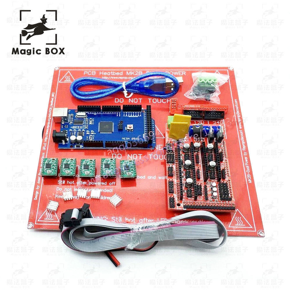 3D Printer parts kit PCB Heatbed MK2B+Mega 2560 R3+RAMPS 1.4 Controller+ 5pcs A4988 Stepper Driver Module