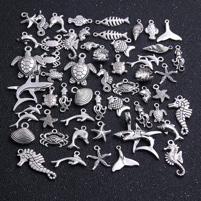20 pces vintage metal mix tamanho/estilo aleatório corpo marinho peixes encantos para fazer jóias diy artesanal|Encantos|   -
