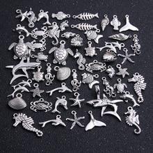 20pcs Vintage Metal Mix Size/Style Random Marine Organism Fish Charms for Jewelry Making Diy Handmade