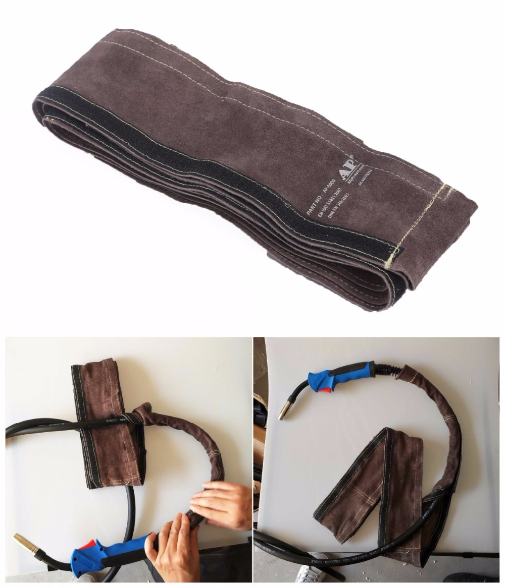 MIG Torch Sleeve Welding Gun Cable Cover 10cm x 3.5m (4in x 11.5ft) Top Split Cowhide Leather CE TIG/MIG/Plasma Cable Sleeves цена
