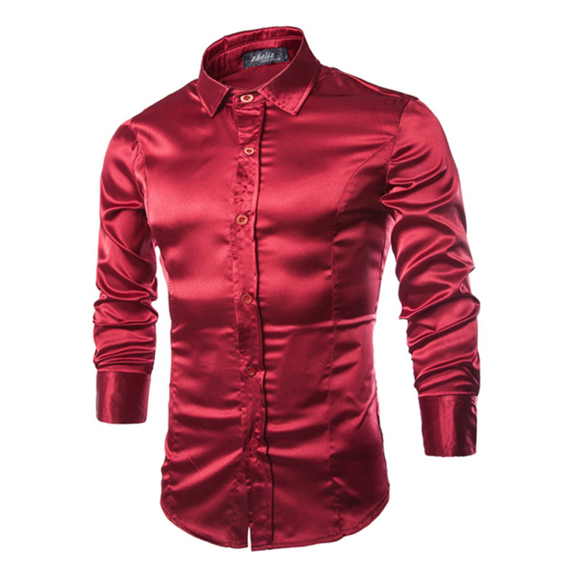 d3f36cd57bfec US $11.36 15% OFF|Shinny silk fabric fashion men's shirts full sleeve  American casual young man tops boys Slim fit M 2XL free shipping-in Casual  ...