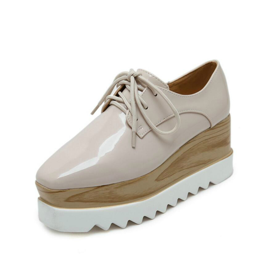 Leather Oxford Platform Shoes