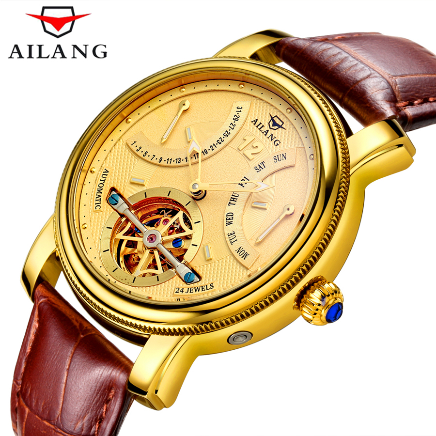2017 Luxury Brand AILANG Automatic Watch man Waterproof Fashion Casual Watches Men Calendar Leather Gold Clock relogio masculino 2017 new full steel automatic watch binger casual fashion wristwatch with gold calendar man business hours clock relogio reloj