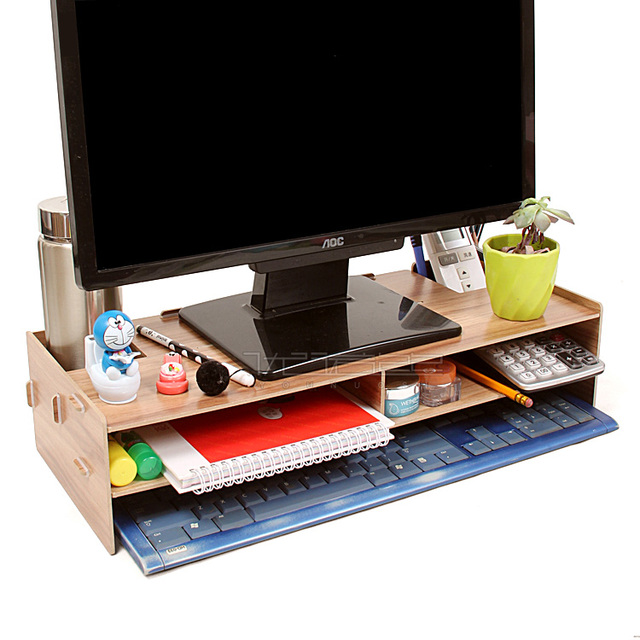 Desktop stand wooden monitor riser tv stand with slots for Organiser un stand