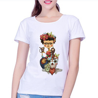 New Arrival 2017 Fashion women frida kahlo print t shirt funny Personalized t shirts Short Sleeve round Neck sugar skull tshirt
