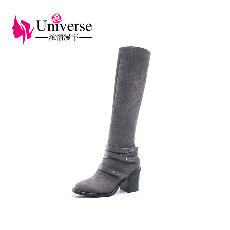 Universe Kid Suede Knee High Boots Black Grey Women Long Shoes Round Toe Winter Warm Short Plush Genuine Leather High Boots H257 dac9349 12
