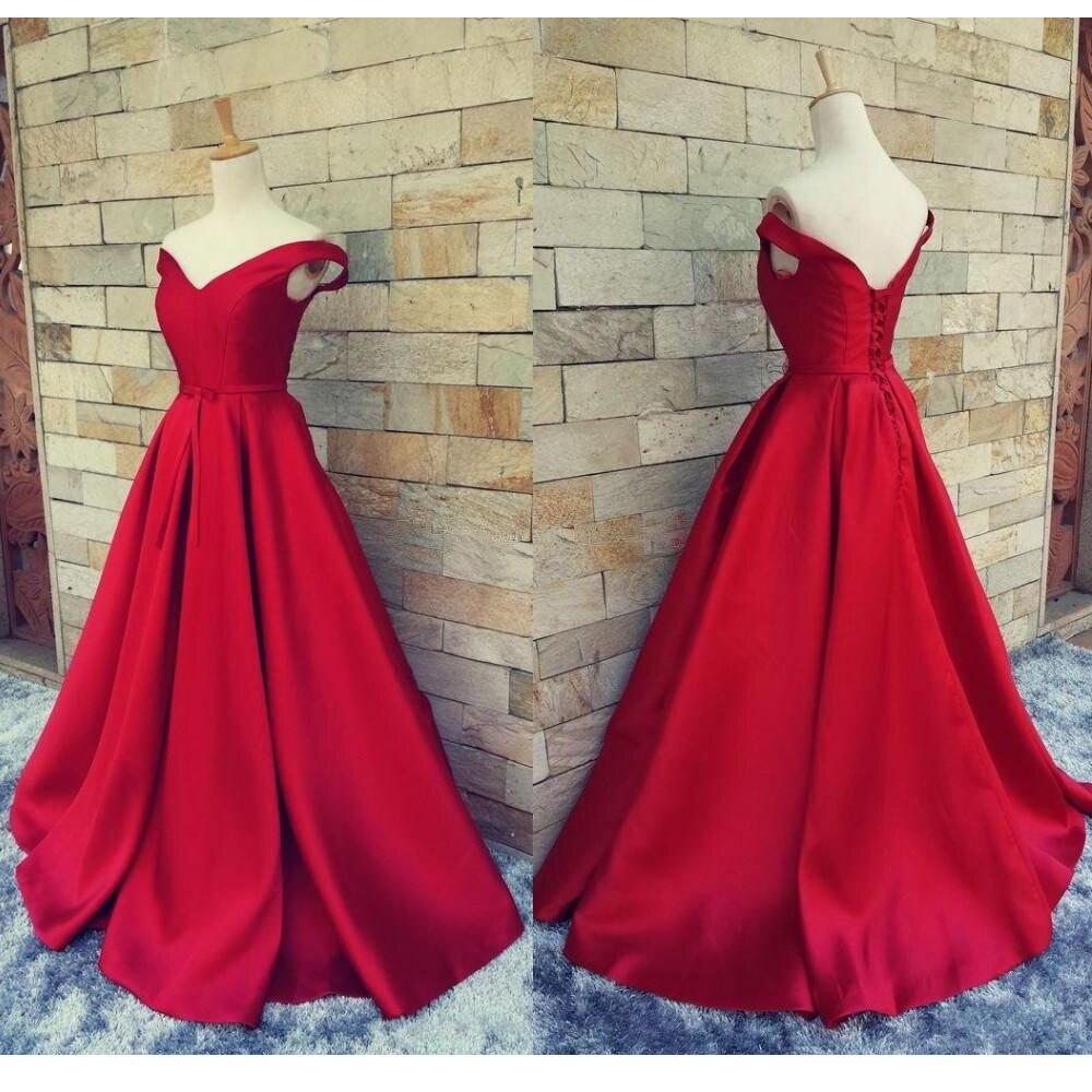 Simple Red Prom Dresses V Neck Off The Shoulder Satin Custom Made ...