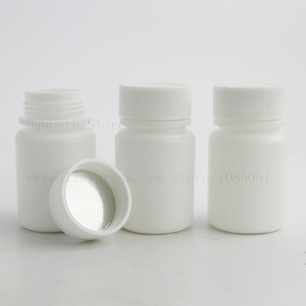100pcs 30ml Medical plastic bottle with screw cap Solid Powder Capsule Chemical empty bottles pills container