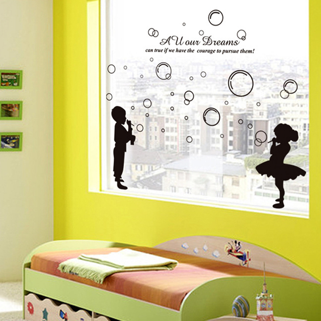 English Letters Boy Girl Blowing Bubbles Wall Decal Home Sticker ...