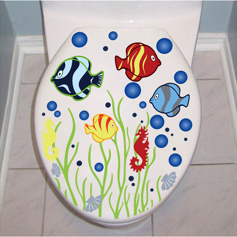 US $1.23 5% OFF|Underwater fish Bubble toilet bathroom sticker waterproof  Home Decoration refrigerator swimming pool Decals-in Wall Stickers from  Home ...