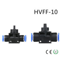 HVFF-10 10mm to 10mm Push in to Connect Pneumatic Fitting Hand Valve + FF  Pneumatic Air Fitting