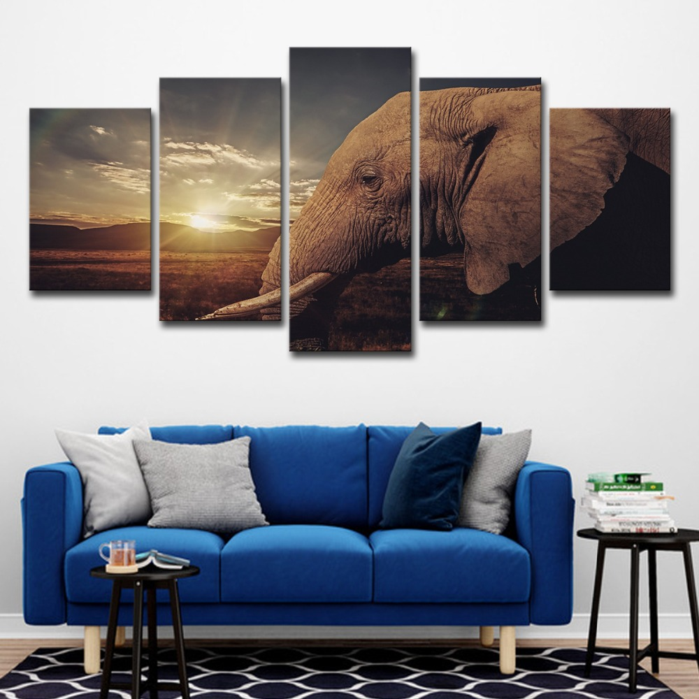 Modern Home Decor Wall Art Canvas Pictures 5 Pieces Sunset African Elephant Landscape Oil Printings HD Prints Painting Posters