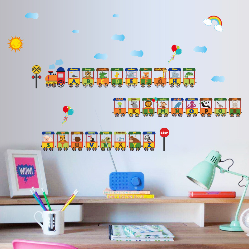 Мультфильм животных поезд детская комната обои детские облако украшения стены Дети Спальня игра стены стикеры письма