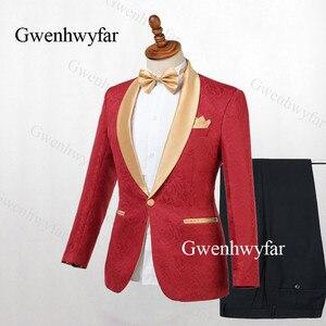 Image 2 - Gwenhwyfar Erkek Takım Elbise Lacivert Jakarlı 2019 Altın Yaka Damat Smokin Parti Balo Erkek Takım Elbise Düğün takımları (Ceket + pantolon)