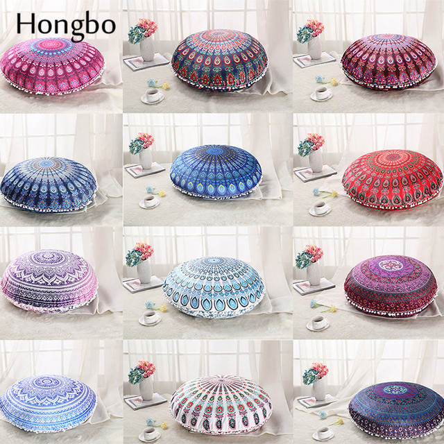 Hongbo 1 Pcs Mandala Floor Pillows Round Bohemian Cushion Cushions ...
