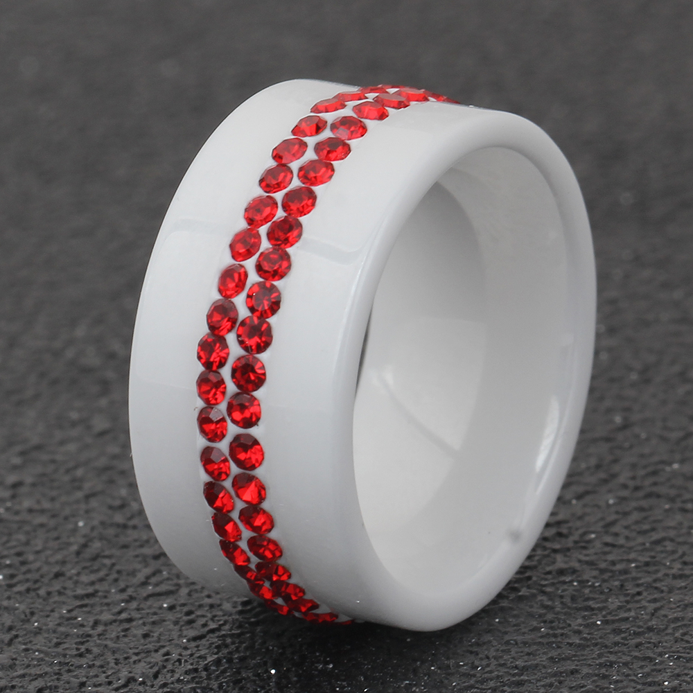 new 10mm black and white 2 row crystal ceramic ring women