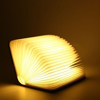 ICOCO USB Rechargeable Folding Led Desk Lamp Book Shape Wooden Book Shape Nightlight White Warm White