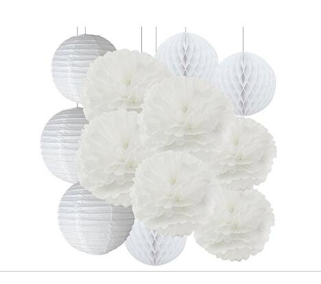 Set of 12 mixed white paper flower tissue paper pom poms paper set of 12 mixed white paper flower tissue paper pom poms paper lanterns tissue paper honeycomb balls white theme wedding decor in party diy decorations from mightylinksfo