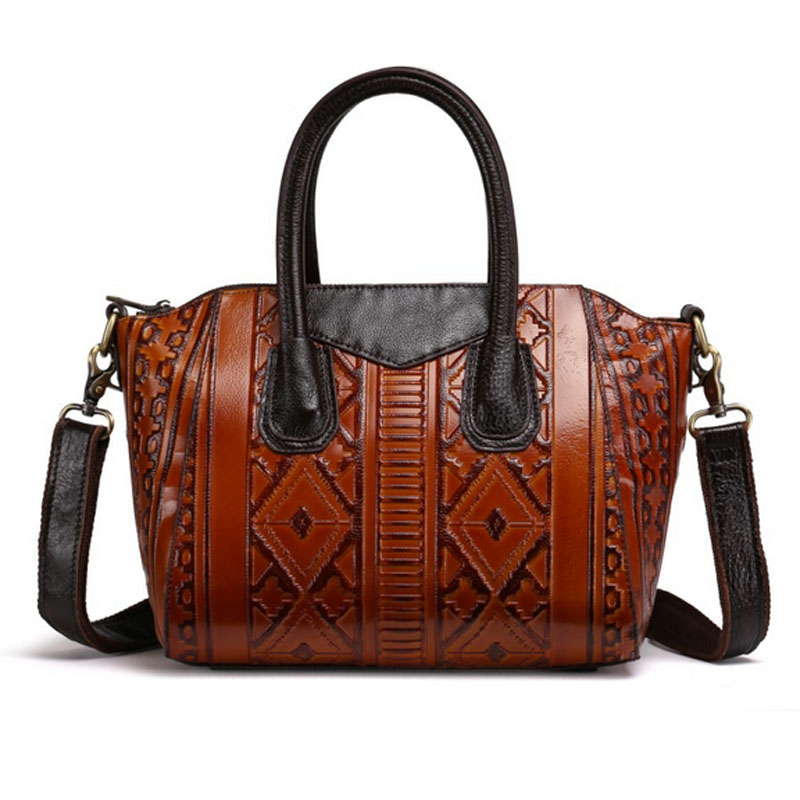 BULLCAPTAIN New Vintage Women Bag Cross Body Genuine Leather Tote Handbag Embossed Ladies trend Messenger Shoulder Bags bullcaptain high quality genuine leather vintage women messenger shoulder bag ladies floral cross body bags brand mini tote