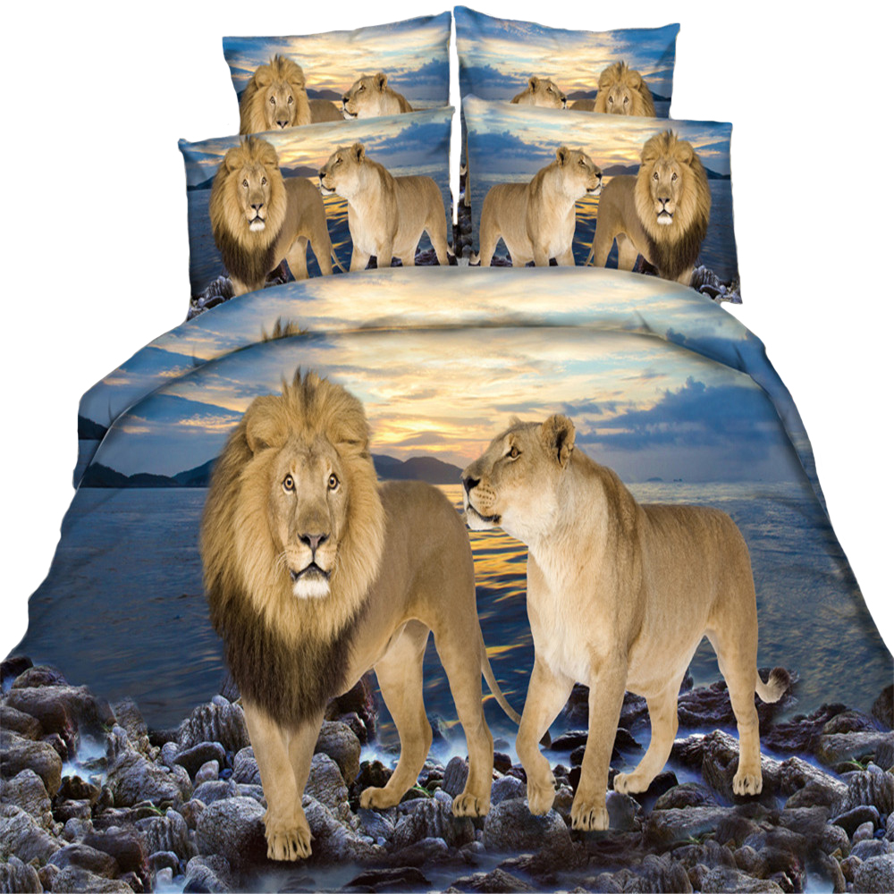 Luxury 100% Cotton 3D HD Printed Animal Tiger Lion Galaxy
