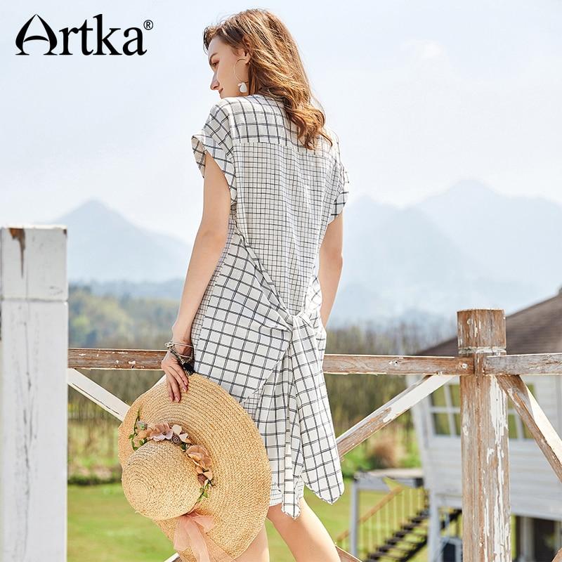 ARTKA été nouveau femmes noeud Patchwork à manches courtes col en Stamd Vintage décontracté robe à carreaux LA10185C-in Robes from Mode Femme et Accessoires    1