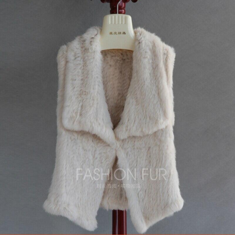 Genuine Rabbit Knitted Fur Vest Handmade Fur Waistcoat Cardigan Fur Gilet Women topfurmall lady fashion genuine knitting rabbit fur vest waistcoat women real fur gilet outerwear asymmetric length lf4003
