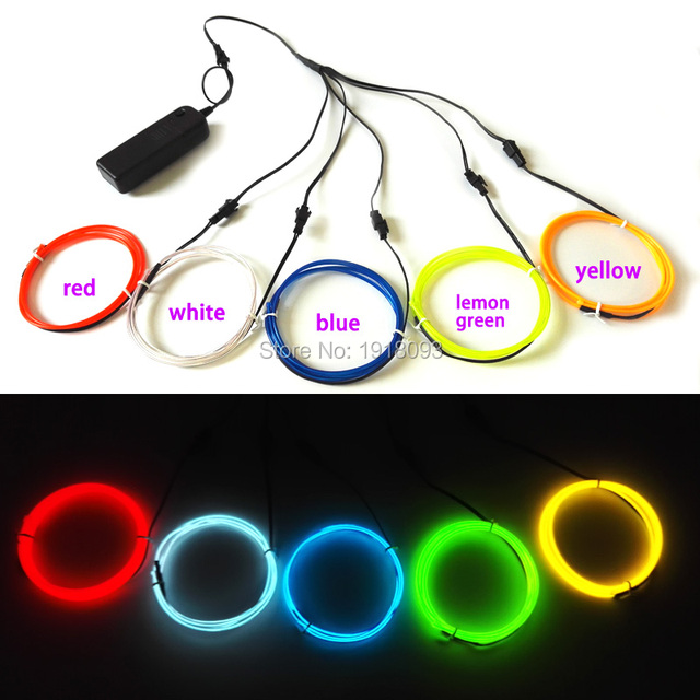 Hot New For DIY LED Strip toys craft Car Model decor 2.3mm 1Meter x 5pieces multicolor Crazy el wire flexible neon glowing light
