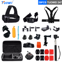 TUOWEI For Gopro Hero 6 Accessories Set Selfie Stick Car Suction Cup For Gopro Hero 5