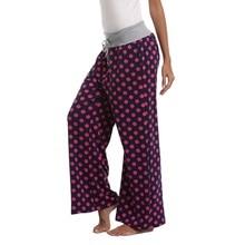 Womens Cotton Pajama Pants Polka Dot Soft Sleep Bottoms Home Lounge Trousers Plus Size Elastic Waist
