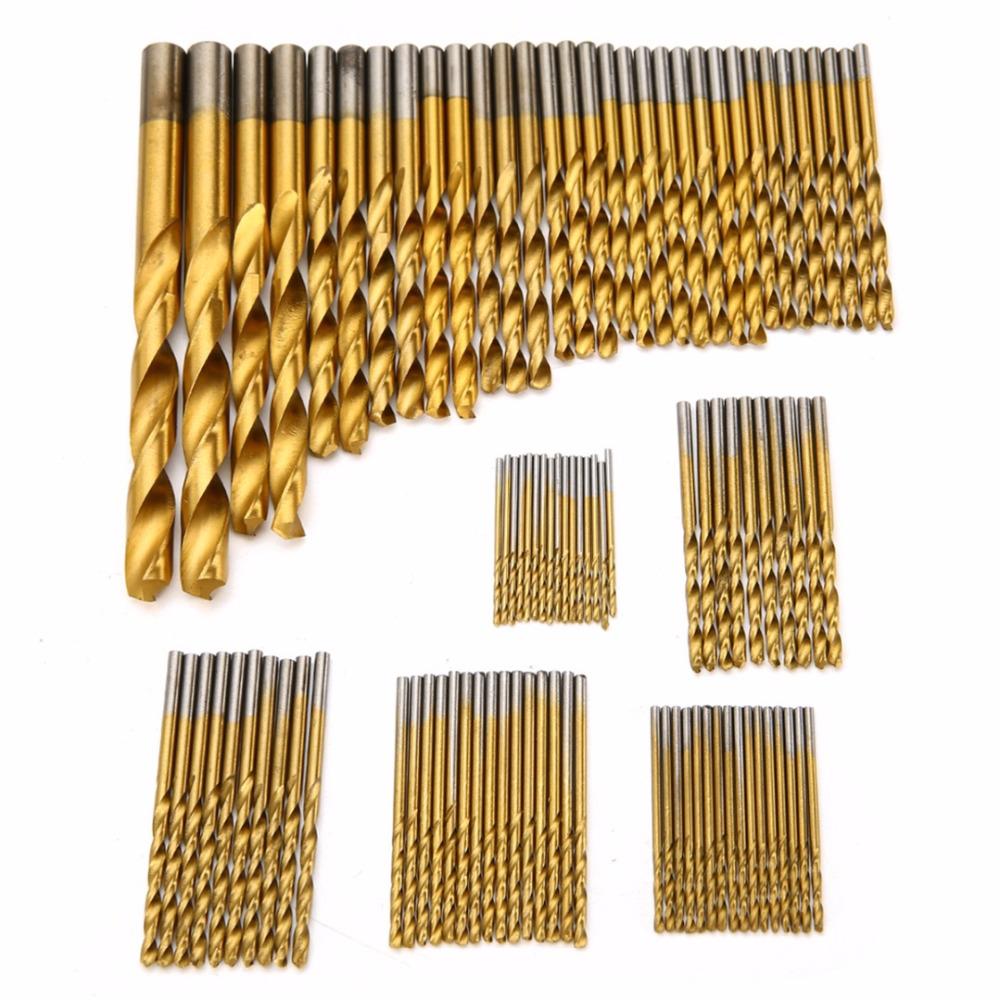 99pcs/set Titanium Coated Drill Bits High Speed Steel HSS Drill Bit Set Tool 1.5mm-10mm For Power Tools 13pcs set hss high speed steel twist drill bit for metal titanium coated drill 1 4 hex shank 1 5 6 5mm power tools accessories
