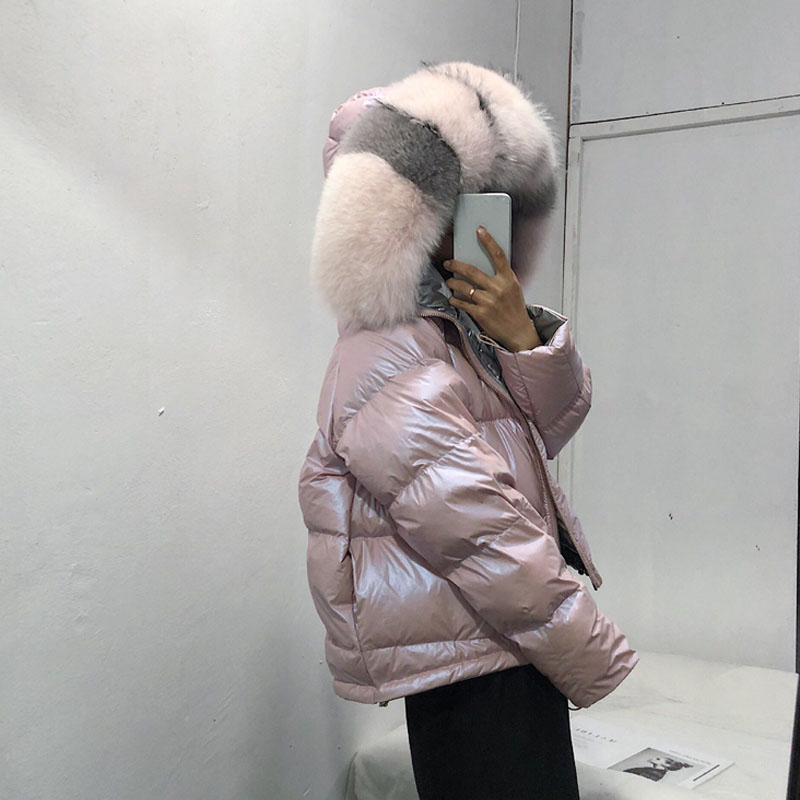 Image 4 - FTLZZ Large Real Fur Down Coat Winter Jacket Women Loose Natural 