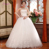 Dreagel New Fashion Strapless Appliques Lace Bohemian Wedding Dresses 2017 Beaded Sequined Princess Wedding Gown Robe