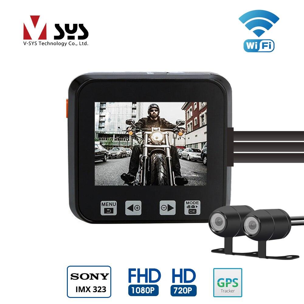 SYS 2.0 ''LCD M6 WiFi Double Caméra Moto DVR Dash Cam Full HD 1080 p/720 p Avant et Vue arrière Caméra Étanche GPS G-Capteur
