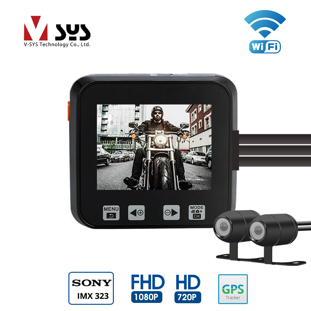 VSYS 2.0'' LCD M6 WiFi Dual Camera Motorcycle DVR Dash Cam Full HD 1080P / 720P Front & Rear View Waterproof Camera GPS G-Sensor dual lens car dvr g30b front camera full hd 1080p external rear camera 720 480p h 264 g sensor dash cam two cameras