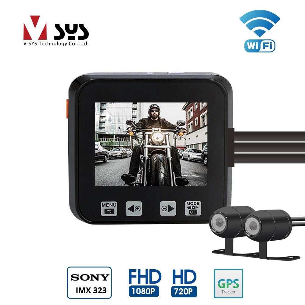 VSYS M6 M6H 2CH WiFi Moto DVR Dash Cam Full HD 1080 p 720 p Avant et Arrière Étanche Lentille action Caméra Enregistreur GPS G-sensor