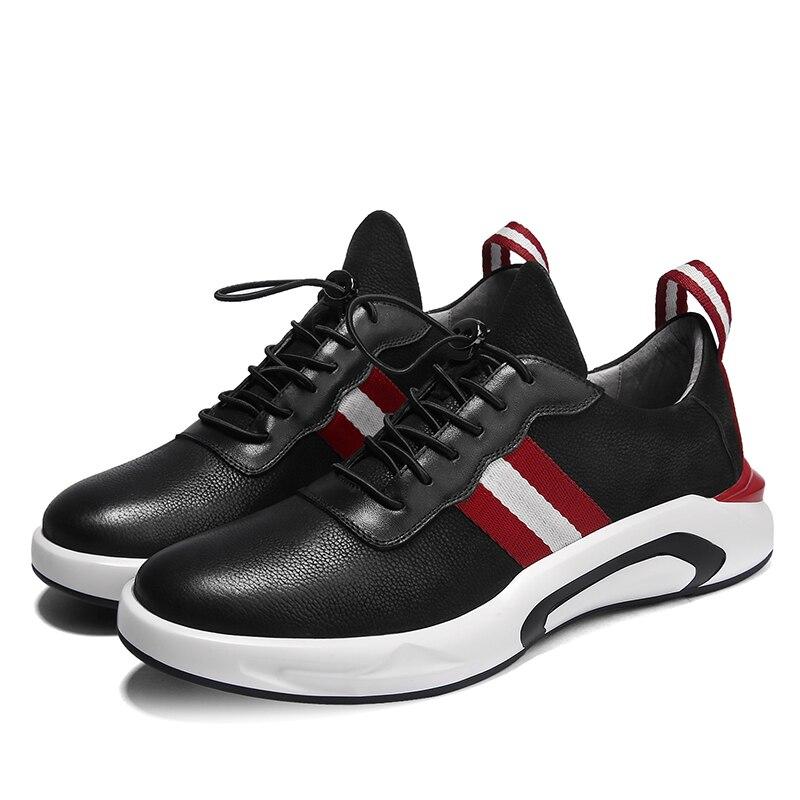แฟชั่นผู้ชายหนังแท้รองเท้าสวมใส่ด้านล่างรองเท้าผ้าใบสีดำ Cool ผู้ใหญ่รองเท้ารองเท้า Krasovki Zapatillas-ใน รองเท้าลำลองของผู้ชาย จาก รองเท้า บน   3