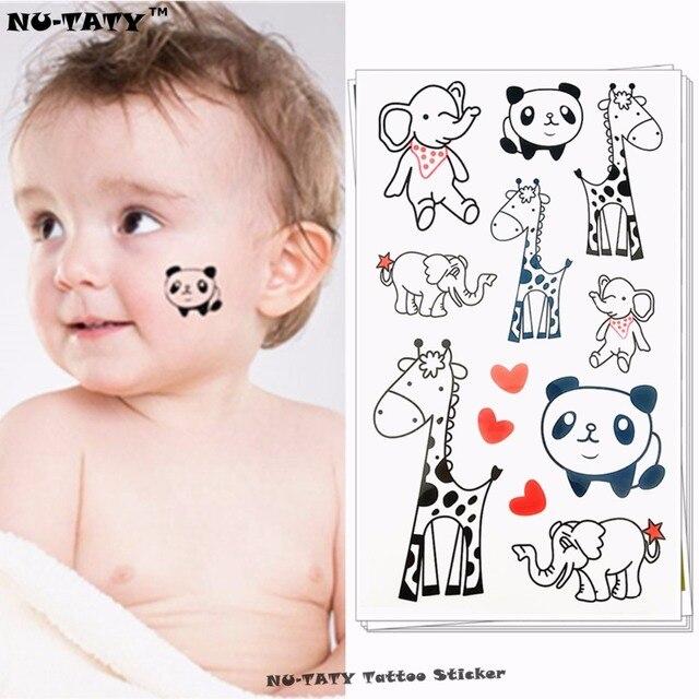 Nu-TATY The Happy Zoo Giraffe Panda Elephant Child Temporary Body Art Flash Tattoo Sticker 10x17cm Waterproof Henna Tatoo
