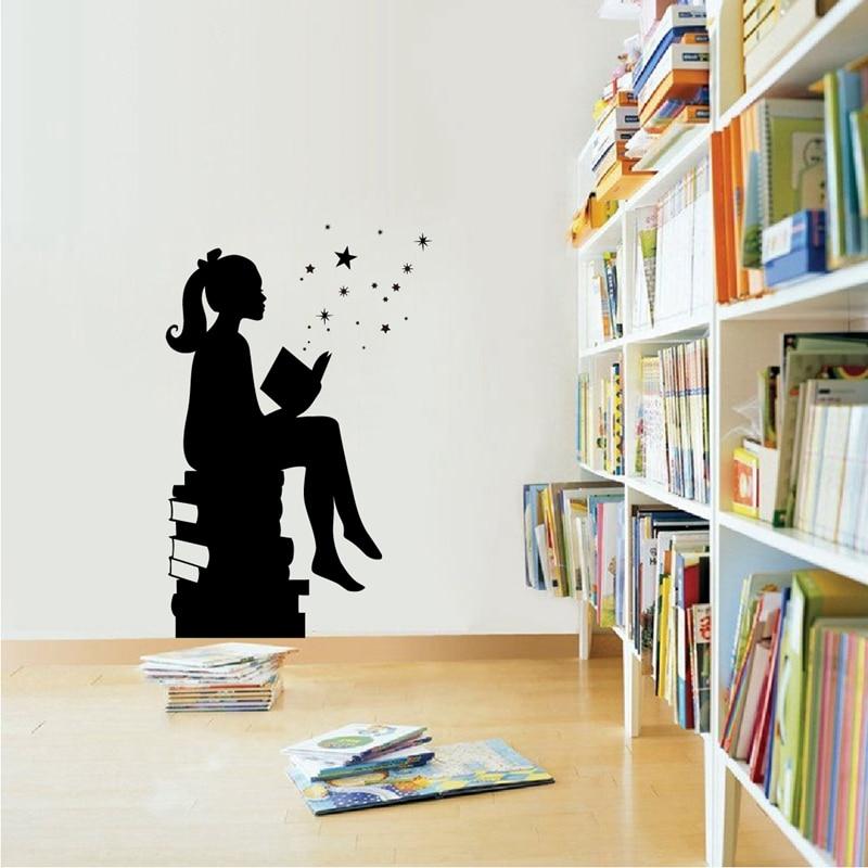 Girl Reading Books Magic Wall Art Decal Libraries Wall
