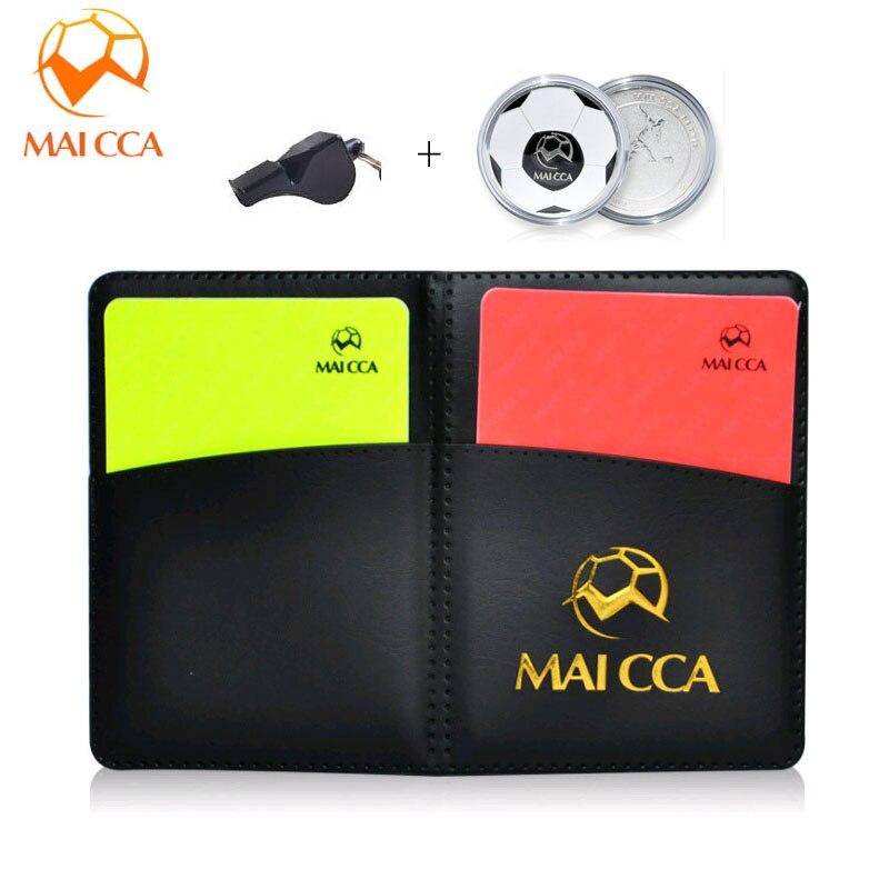 Cartas de árbitro de fútbol MAICCA con juego de monedas de libro de lápiz unidad de lanzamiento Silbatos de fútbol en voz alta juego de partido equipo de árbitro