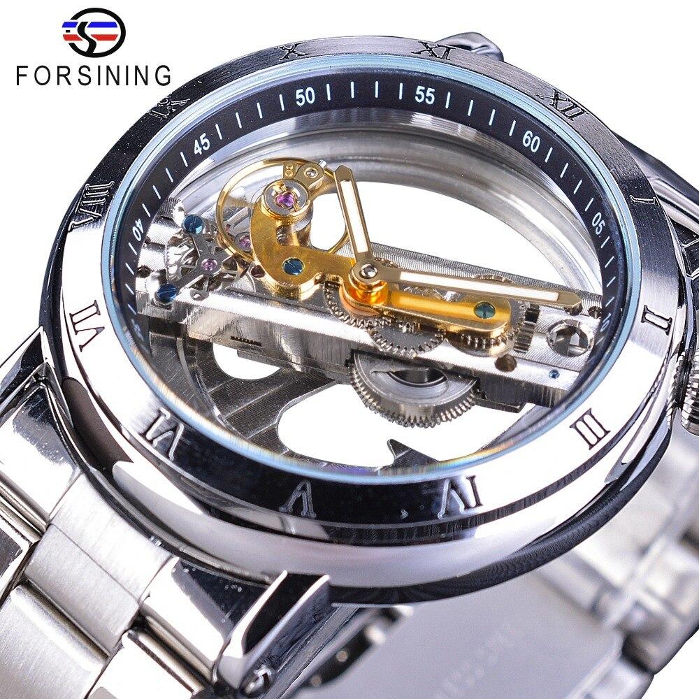 Forsining Double face Transparent tourmilliards en acier argenté mécanique Steampunk montre automatique créative Top marque horloge de luxe