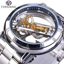 Forsining duplo lado transparente tourbillion aço prata steampunk mecânico criativo relógio automático marca superior relógio de luxo