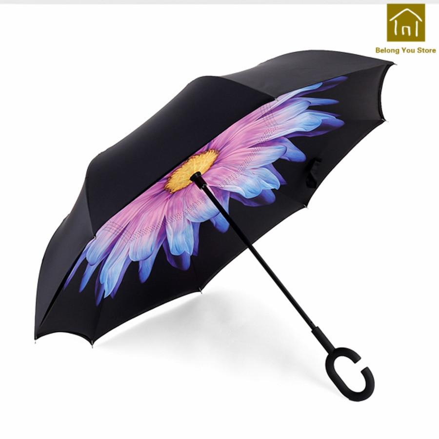 Coupe-vent inverse parapluie créatif Double Laye pluie parapluies Parasols paraguay imperméable Ombrello Uomo pluie parapluies QKV030
