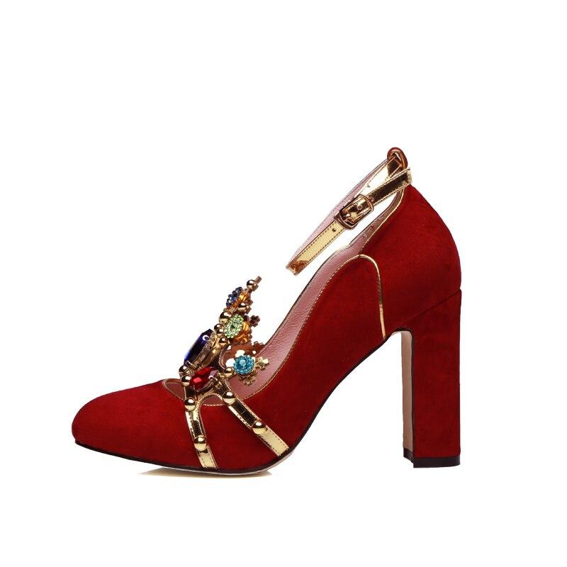 Show Kristall Krone Marke as Frauen Heels High 42 Mary Metall Luxus Plus Photo As Schuhe Janes Strass Hochzeit Größe Show Pumpen RRdrqH