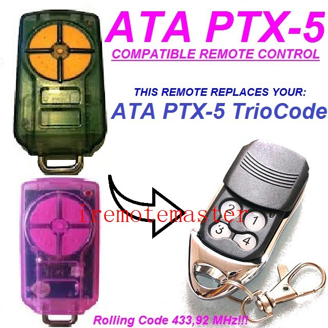 New arrivals! For ATA PTX-5 Triocode 433,92 MHZ replacement remote Rolling code 433.92MHZ ata ptx5 tricode replacement remote 1234button ptx 5 radio contol remote 433 92mhz 434 37mhz 433 37mhz