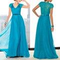 Chiffon azul mãe das noivas vestidos para casamentos plissadas Beads mãe da noiva vestidos com mangas curtas