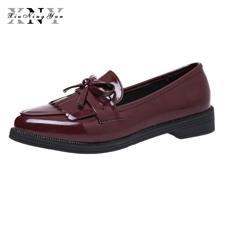 XiuNingYan Brand Shoes Woman Casual Tassel Bow Pointed Toe Black Oxford Shoes for Women Flats Comfortable Slip on Women Shoes pu pointed toe flats with eyelet strap