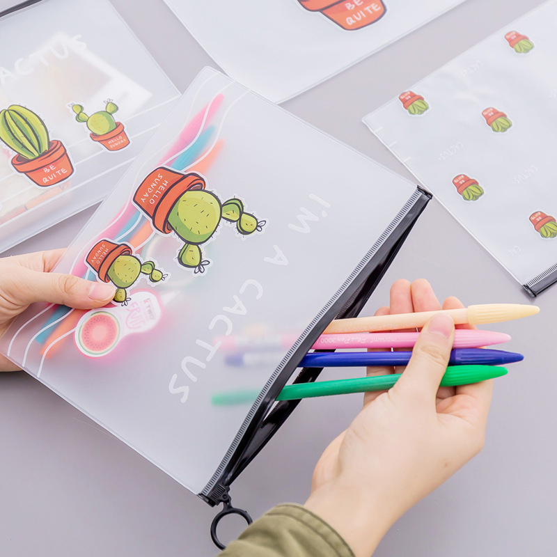 Korean Cartoon Cactus Sealed Document Bag PVC Transparent Ring Storage Bag High Capacity Student Stationery Supplies in File Folder from Office School Supplies